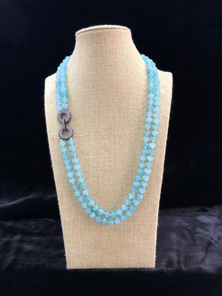 Splendid Sky Blue Semi Precious Gemstones Necklace