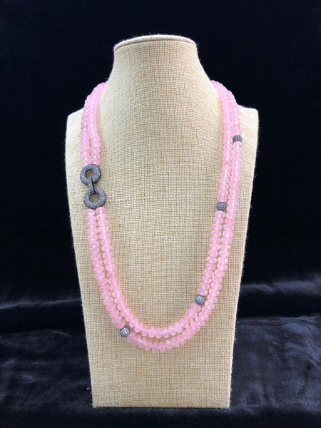 Blossom Baby Pink Semi Precious Gemstones With Side Pendant Necklace