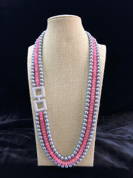 Charming Silver Shell Pearls With Crystal Brooch Necklace