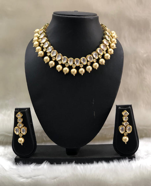 Royal Golden Shell Pearls With Kundan Necklace Set