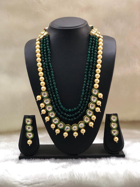 Emerald Green With Golden Shell Pearls Necklace Set