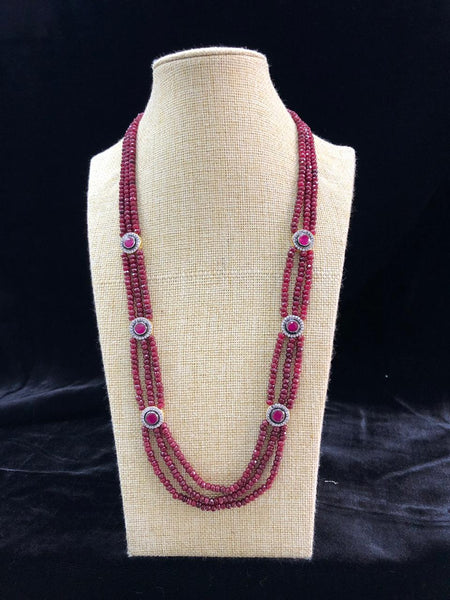 Radiant Ruby Red Semi Precious Gemstones Necklace