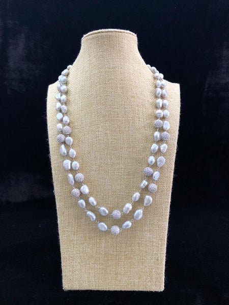 Splendid Rich Silver Baroque Pearls Necklace
