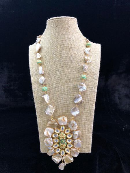 Charming Cream MOP With Beautiful Meenakari Necklace