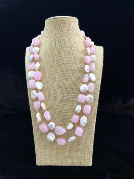 Perfect Pink Semi Precious Gemstones And Pearls Necklace