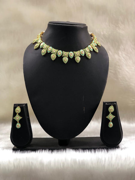 Significant Seafoam Green Kundan with Beautiful Meenakari Necklace Set