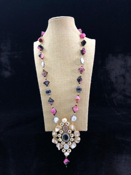 Mix Of Pink And Black Gemstones With Crystal Necklace