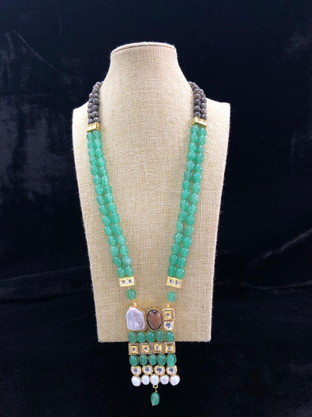 Fern Green Gemstones And Kundan With Crystal Necklace