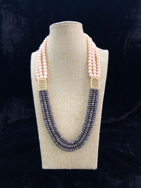 Cedar Brown & Shell Pearls Crystal Necklace