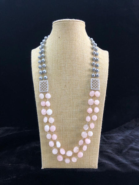 Blush Pink & Silver Shell Pearls Crystal Necklace