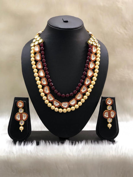 Captivating Kundan Ruby Red & Pearls Necklace Set
