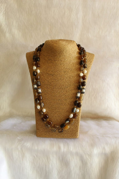 Vibrant Shades of Brown Freshwater Pearls Necklace
