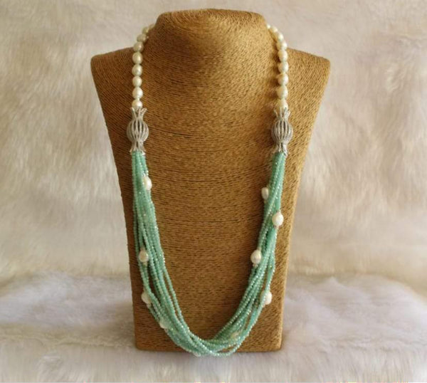 Alluring Cyan Pearls Necklace
