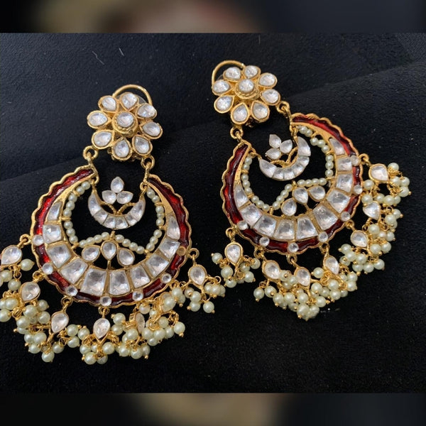 Superb Kundans & Shell Pearls Chandbali Earrings