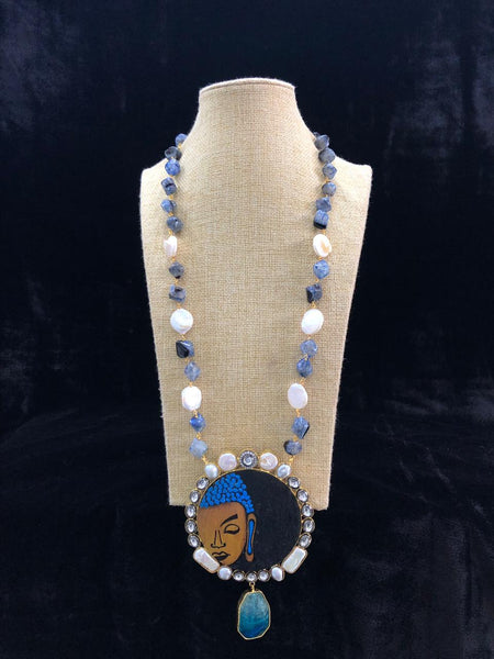 Mesmerizing Blue Baroque Pearls with Kundan Necklace
