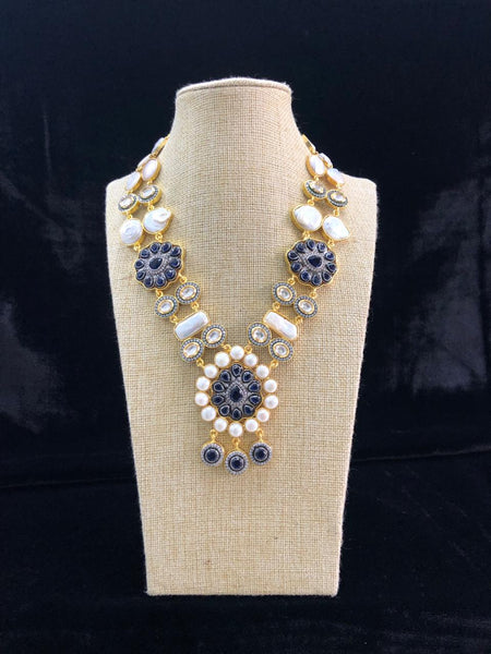 Intricate Baroque Pearls Kundan Oxford Blue Necklace