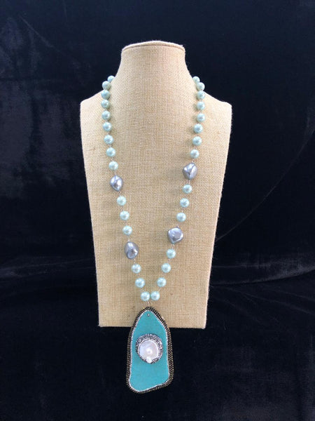 Sparkling Mint Baroque Pearl Meena Necklace