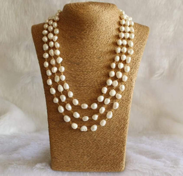 Beauticious Three Stranded Baroque Pearls Necklace