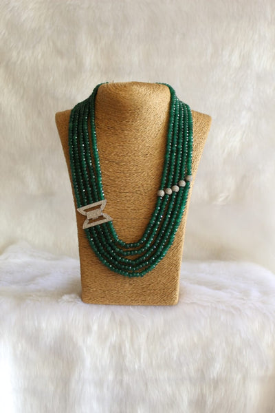 Deligated Dark Green Gemstones With Crystal Side Pendant Necklace