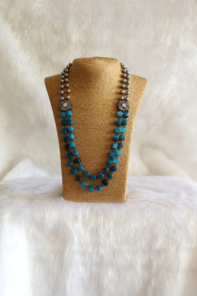 Admiral Blue Gemstones With Silver Pearls Necklace