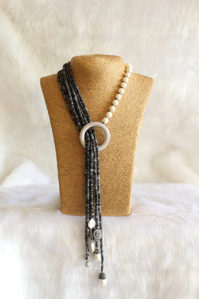 Magnificant Black Gemstones And Shell Pearls With Crystal Necklace