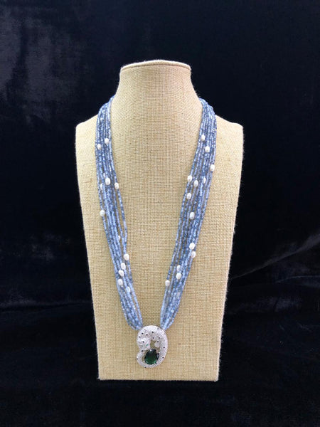 Charismatic Carolina Blue Gemstones with Crystal Pendant Necklace