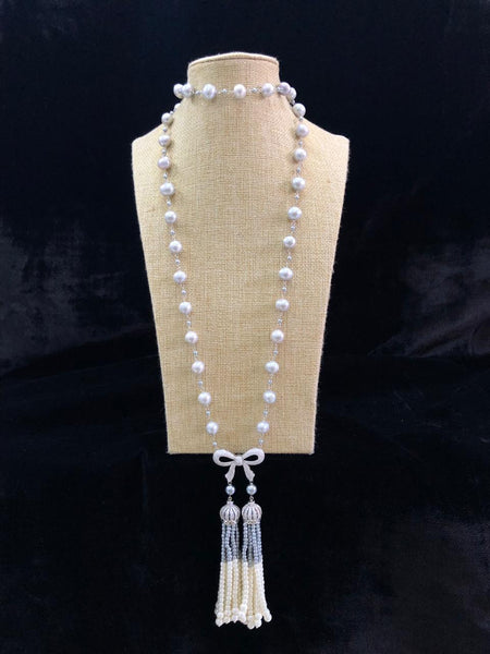Sensational Silver Pearls And Crystal Tassel Necklace
