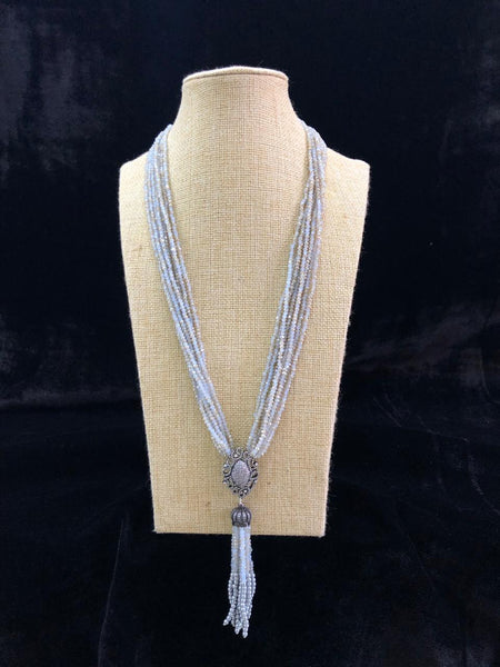 Immortal Light Blue Gemstones With Crystal Tassels Necklace