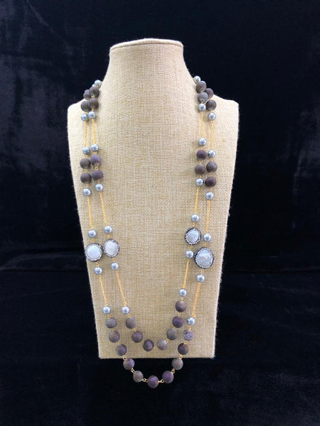Elegant Eggplant Purple Gemstones And Shell Pearls Necklace