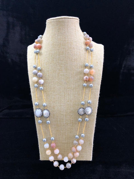 Captivating Mix Shade Gemstones And Shell Pearls Necklace