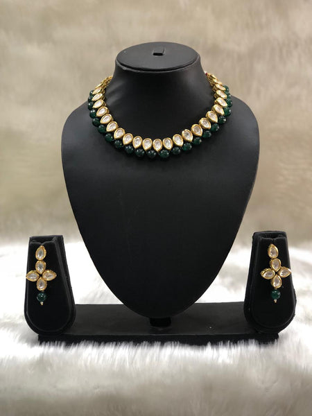 Droplet Kundan With Emerald Green Gemstone Choker Necklace Set