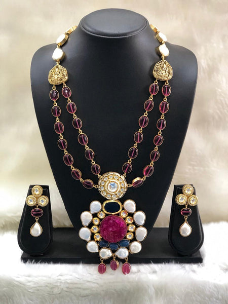 Prismatic Purple Baroque Pearls And Kundan With Crystal Necklace Set