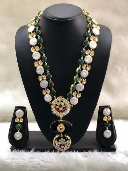 Resplendent Emerald Green Baroque Pearls And Kundan Necklace Set