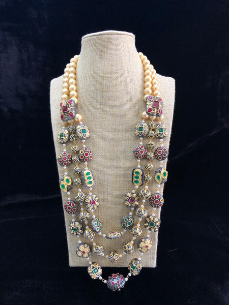 Enthralling Three Stranded Multi-coloured Gemstones Necklace