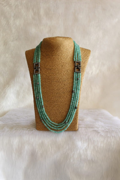 Enthralling Seafoam Green Gemstones And Crystal Necklace