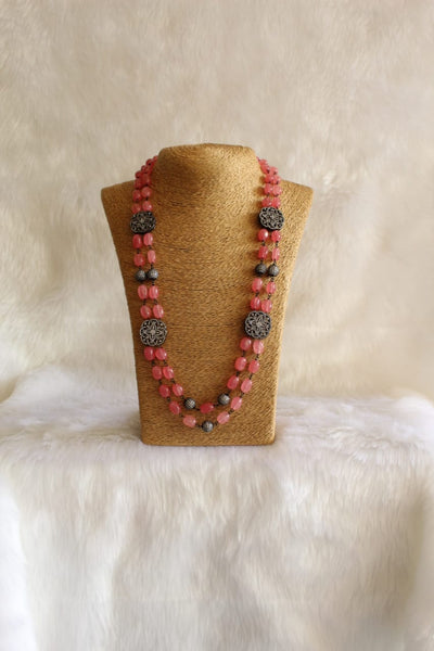 Prismatic Pastel Red Gemstones Crystal Necklace