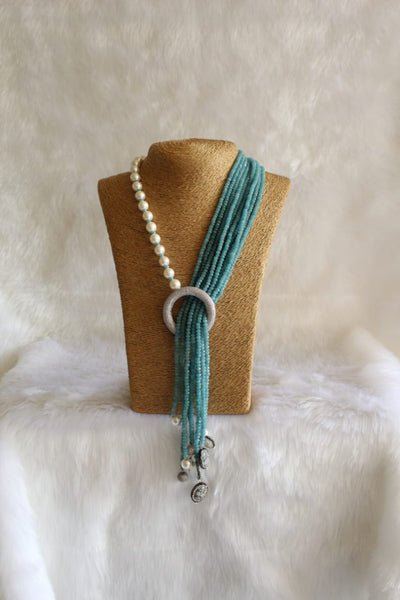 Alluring Turquoise Blue Gemstones And Pearls Necklace