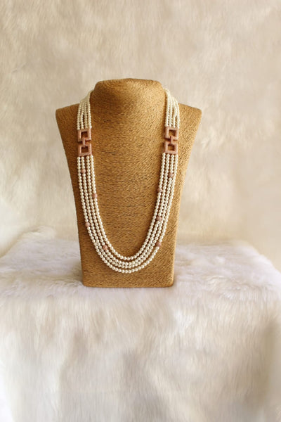 Splendid Shell Pearls With Rose Gold Crystal Necklace
