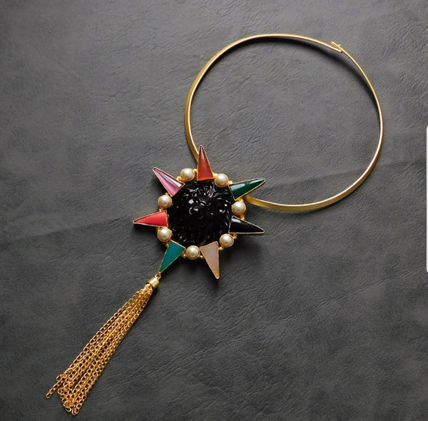 Rich Meena Art Lion in Multicolour Star With Tassels Necklace