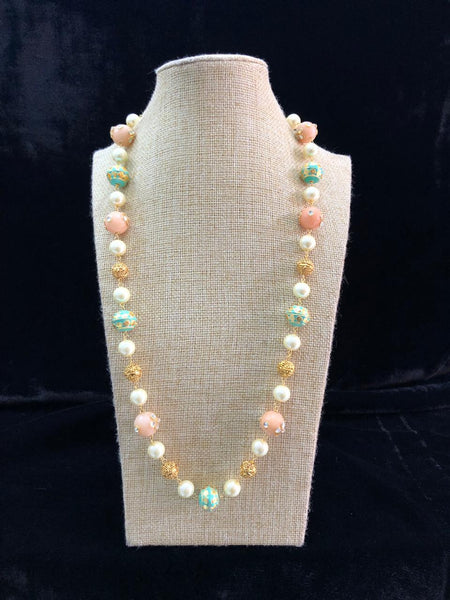 Enchantres Salmon Peach Enamel Beads And Pearls Necklace