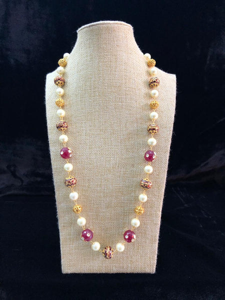 Enigmatic Magenta Purple Enamel Beads With Pearls Necklace