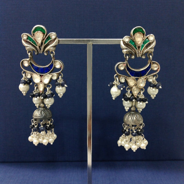 Classic Solid Silver Jhumka Long Earrings