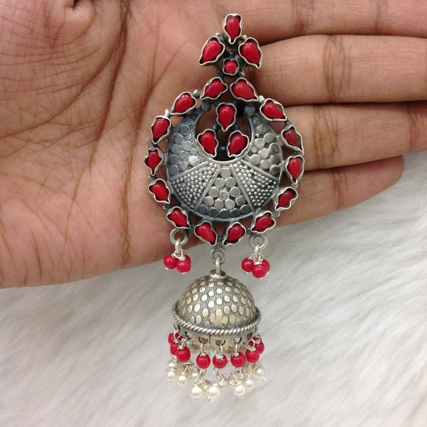 Versatile Long Silver Jhumka Earrings