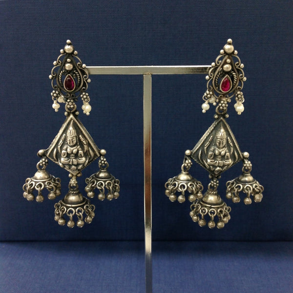 Lakshmi in Jhumki Silver Jhumka Long Earrings