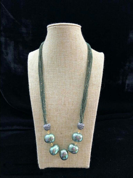 Gleaming Basil Green Seed Beads Necklace