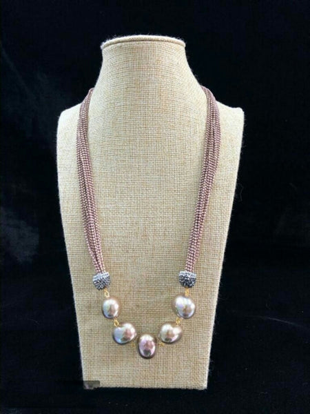 Sparkling Salmon Pink Seed Beads Necklace