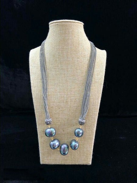 Charismatic Carolina Blue Seed Beads Necklace