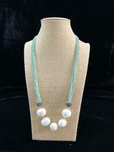 Mesmerizing Mint Green Seed Beads Necklace