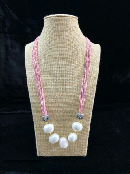 Alluring Perfect Pink Seed Beads Necklace