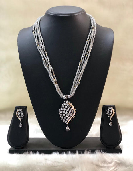 Artisan Grey Gemstones And Crystal Necklace Set